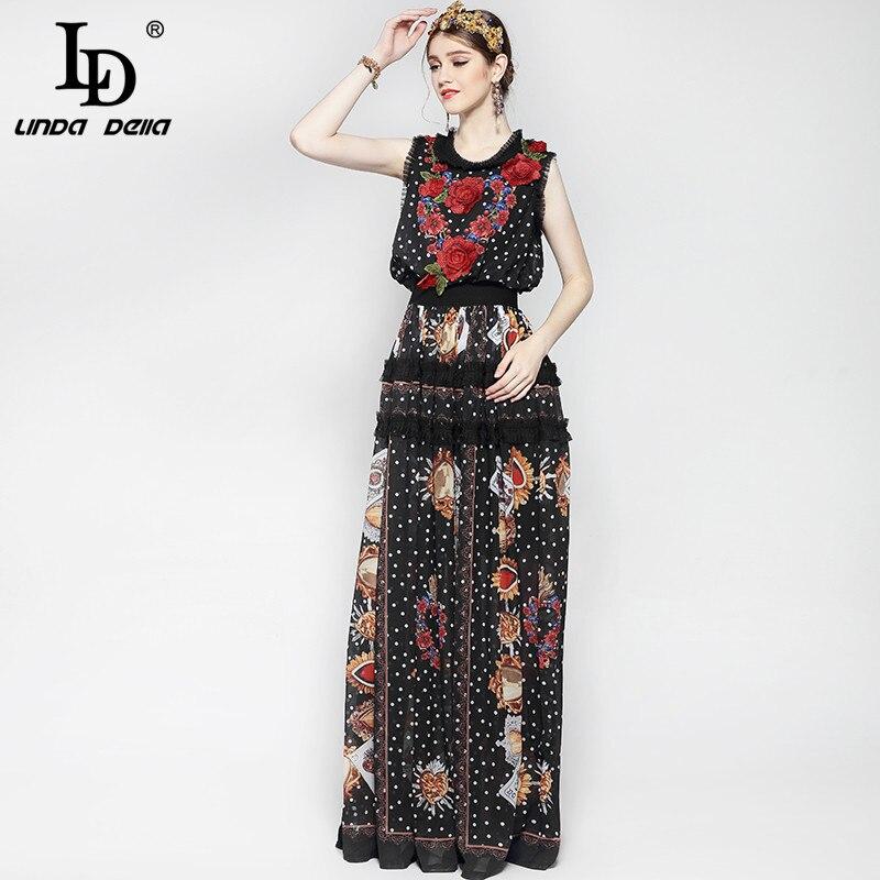 Nouveau 2019 mode piste Maxi robe femmes longueur de plancher sans manches élégant Rose fleur imprimer Floral broderie Vintage longue robe - 5