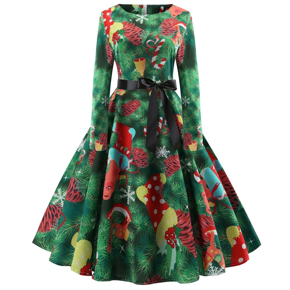Women's vintage print long sleeve christmas dresses female fashion evening party swing dress ladies o-neck clothes vestidos