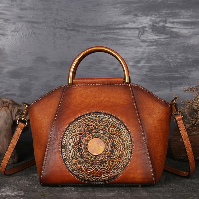 Nuleez tote bag women genuine leather cowhide 2019 winter vintage handcraft Chinese national style