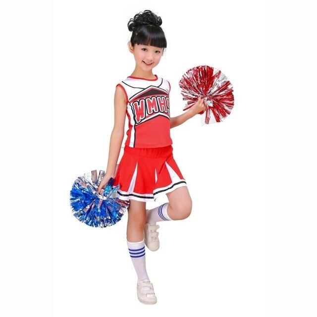LOLANTA Tenue de pom-pom girl pour enfants avec pompons uniforme scolaire costume de carnaval
