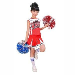 Image 3 - בנות Red & Blue מעודדת לעודד תחפושת תלבושת אחיד עם Poms פום שמלת בגדי גרבי סט מתאים 3 15Yrs