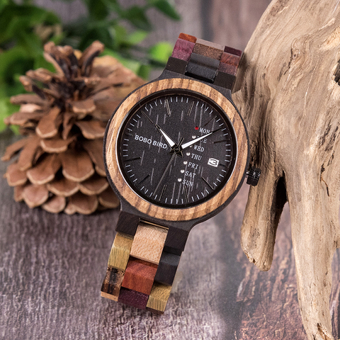 BOBO BIRD Wood watch Lover Couple Watches Men Show Date Ladies Wristwatch Women Quartz Male bayan kol saati Gift in Wood Box Islamabad