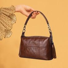 Ladies Genuine Leather Casual Handbag with Tassel