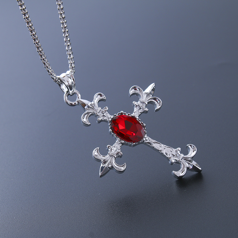 ALULU custom Black Friday Deal New Cross Pendant Necklace Red & Blue Crystal Sweater Chain Necklace for Women and Mens Fashion