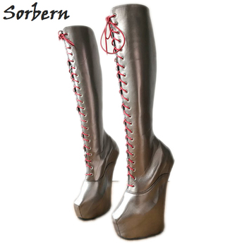 b9667121 Sorbern Sexy papel jugar plataforma botas mujer Botines de tacón tamaño 11  piel pierna botas largas sin tacones sin tacón pezuña zapato
