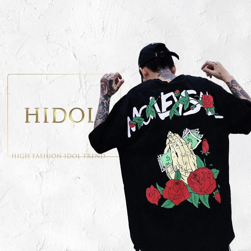 6ed2d71582b4 Hip Hop Swag Oversize T-shirt US Money Slogan Rose Flora Print T shirt  American