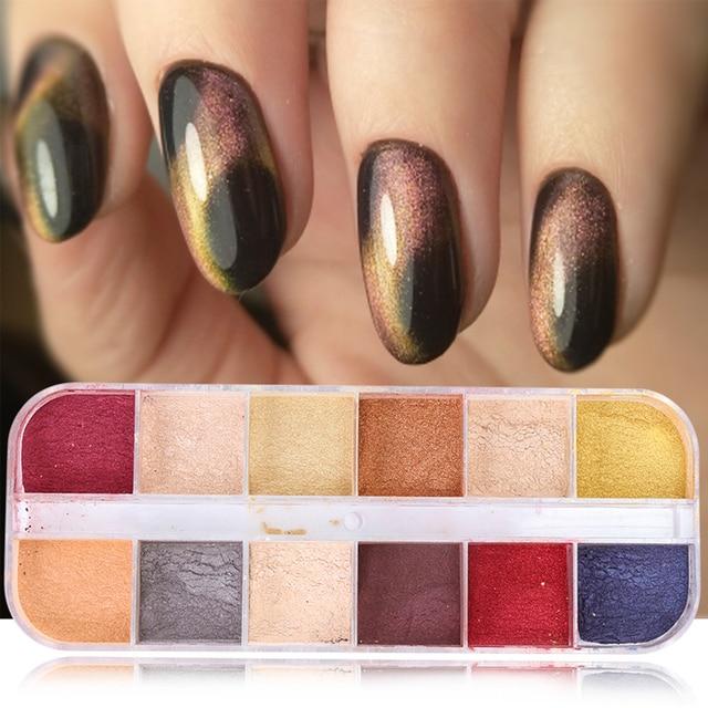 12 rejillas de purpurina 3D para uñas, juegos de polvos de ojo de gato, pigmento magnético mágico para decoración de uñas, imán cromado para polvo TR813