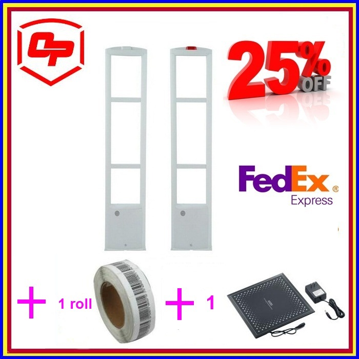 Hot Mode! Wide Detection Eas Retail Shoplifting Security Alarm Rf System+1 Roll Soft Labels+1set Deactivator