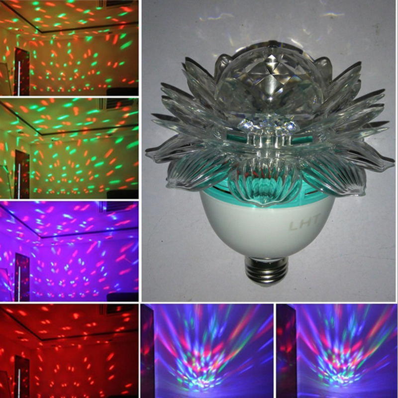 Christmas lights lotus led screw mouth ( with plug ) rotating family party stage lights festival decorative lights