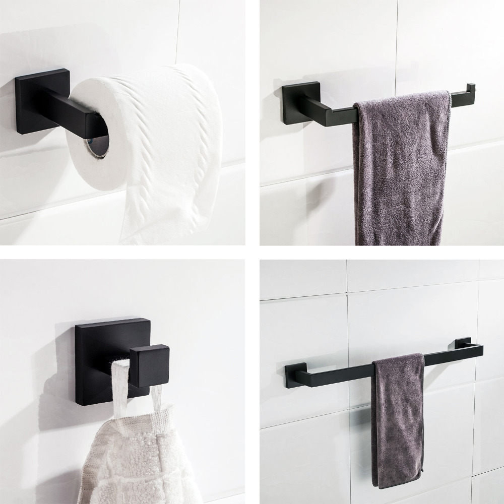 Matte Black Stainless Steel Bathroom Hardware Accessories Set Robe Hook Towel Bar Ring And Toilet Paper Holder In Bath Sets From Home
