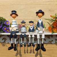 Free Shipping 4pcs Lot Mediterranean Ocean Style Navy Hanging Foot Doll Iron Ornaments Home Wall Decor
