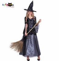 Women Sexy Renaissance Spider Witch Costume Black Dress Cosplay Party Fancy Dress for Female Adult Girl Halloween Costumes
