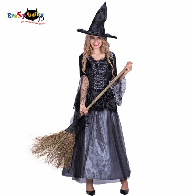 Women Sexy Renaissance Spider Witch Costume Black Dress Cosplay Party Fancy  Dress for Female Adult Girl Halloween Costumes 30551b09e643