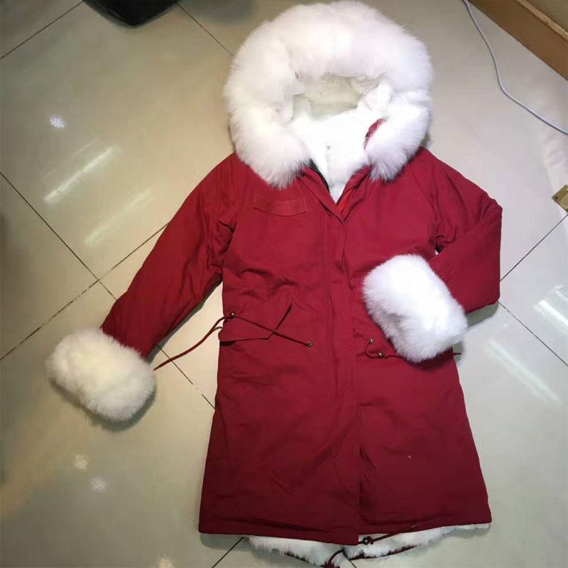 Doublure Belle faux Parka Fur Inside Rouge Prix Fox Hiver De Fourrure Nouvelle Fur Différents All Blanc Jaket Différentes Style Inside Conception Longue rabbit Tissu yv0wnON8mP