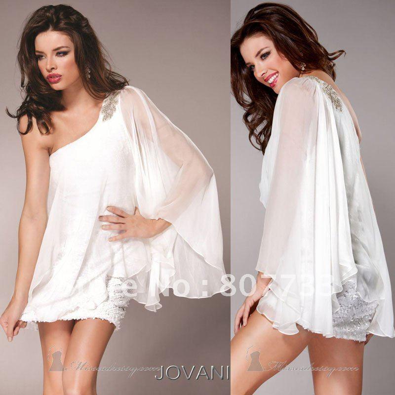 White Wedding Dress Mini: Free Shipping!!!Cheap White Cocktail Dresses Sheer One