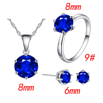 Fashion Silver Color Cubic Zircon Jewelry Sets Hot Promotions Jewelry Jewelry Sets Women Jewelry Metal Color: blue Ring Size: 9