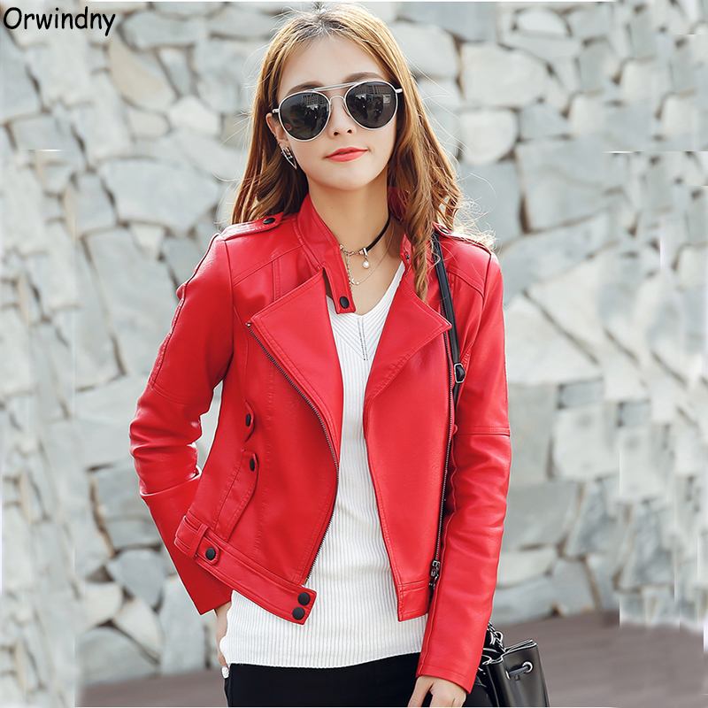 Orwindny Women O-Neck   Leather   Coat 2019 New Slim Casual Spring Clothing Outerwear Plus Size S-3XL Red   Leather   Jackets Girls