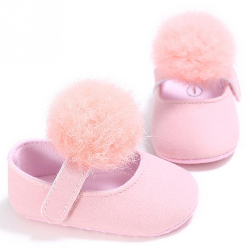 Clearance Spring Autumn Anti Slip Kids Baby Shoes Solid Infant Girls Shallow First Walkers Toddler Plush Ball 0-18 Months