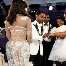 Luxury 2016 Long Sleeve Champagne Ostrich Feathers Crystals Mermaid wedding dress bridal gown robe de mariage Vestido de noiva