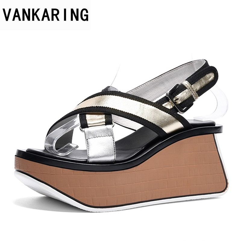 VANKARING 2018 hot new fashion wedges platform high heels women sandals simple open toe summer gold casual date woman sandals new women sandals low heel wedges summer casual single shoes woman sandal fashion soft sandals free shipping