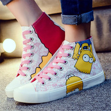 Hot Sale 2017 Cartoon Anime Despicable Me Minions Shoes Figure Adult Hand Painted Canvas Shoes Women