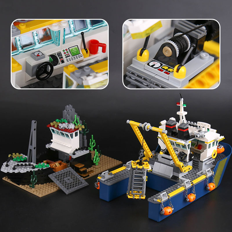 Lepin 02012 City Series 775Pcs The Deep Sea Exploration Vessel 60095 Model Building Blocks Bricks as Boys Funny Christmas Gifts цена