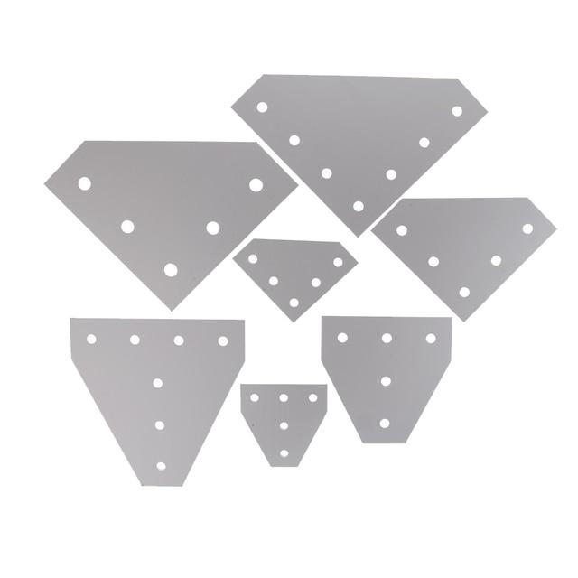 חדש 6063-T6 משותף לוח צלחת פינת זווית סוגר חיבור משותף רצועת עבור אלומיניום פרופיל 2020 3030 4040 עם 5/7 חורים