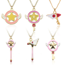 Anime Card Captor Sakura Kinomoto Star Wand Key Cosplay Pendant Necklace Girl Gifts Jewelry Gifts