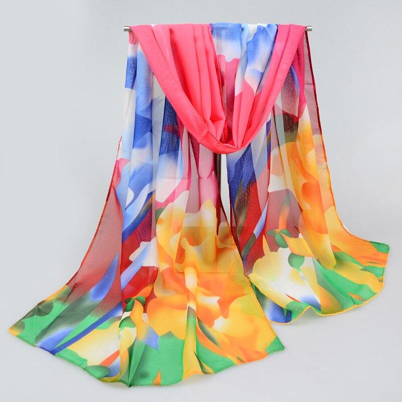 2018 New Women Chiffon Silk Scarfs Fashion Spring Chiffon Scarves Print Shawl Summer Brand Shawls And Hijabs