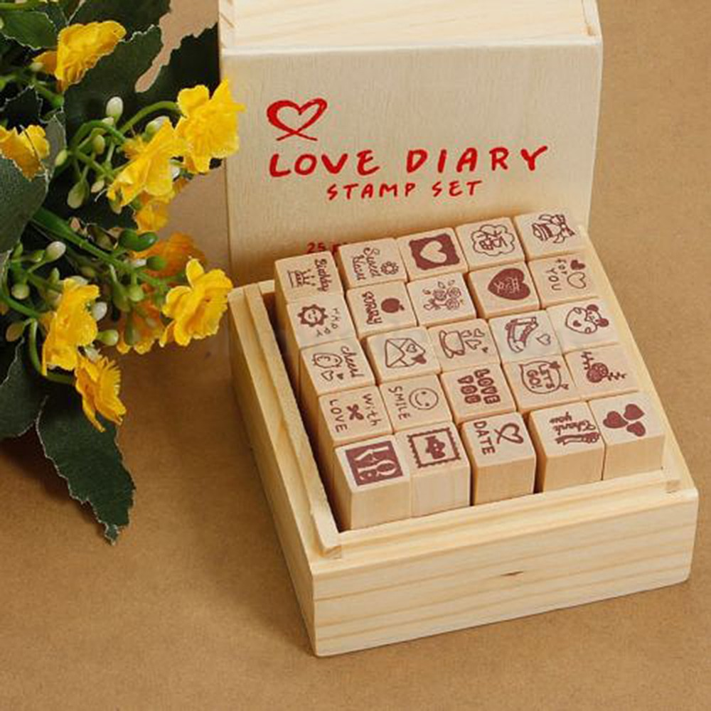 25Pcs/Box Lovely Cartoon Letter Diary Pattern Wooden Rubber Stamp Cute Multiduty Writing Art Decor Supplies sdfsd 25 box [03050122 sdsdf