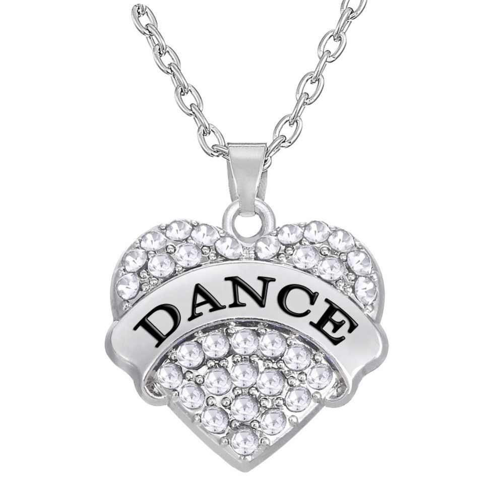 my shape necklace with pendant 20*20mm(about 0.79*0.79 inches) crystal heart dance gift necklace for dancer