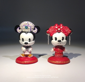 Image 4 - Disney Mickey Mouse Minnie Marry Chinese style 7 9cm Action Figure Anime Decoration Collection Figurine Toy model for children