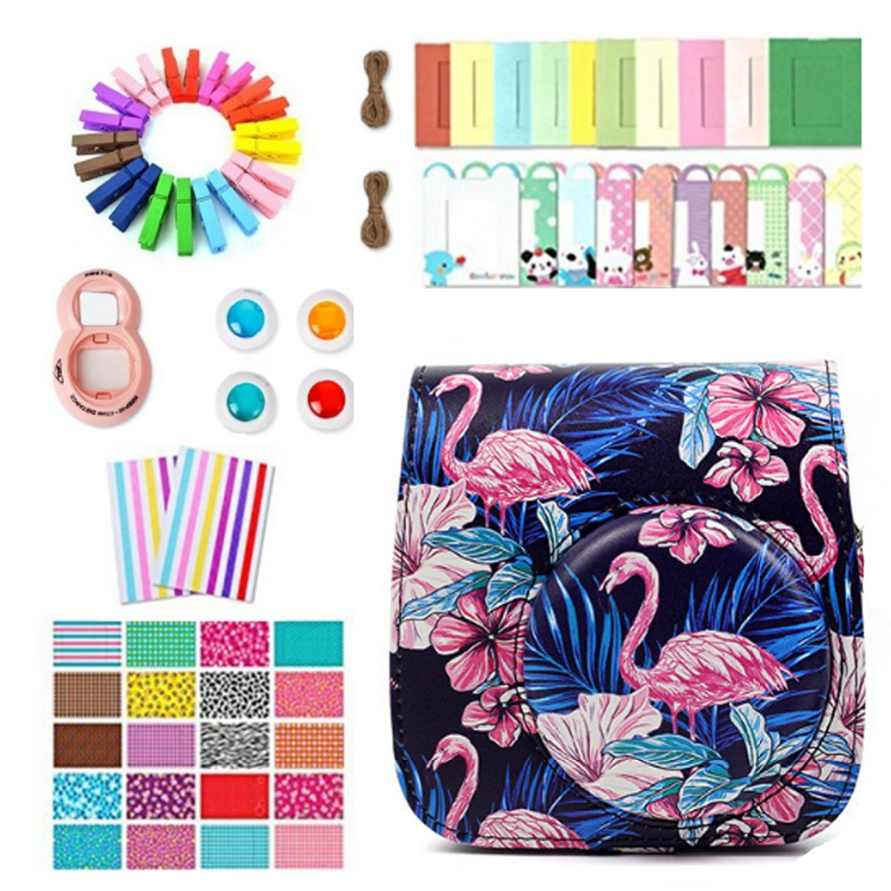 Camera Accessories Flamingo case Bag Photo Frame Camera Stickers Wall Frame Clip with Rope for Fujifilm Instax Mini 8 9