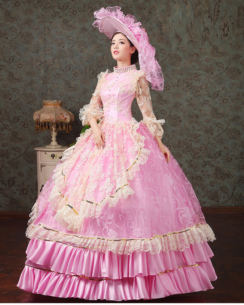 luxury lace embroidery pink flowers beading medieval dresswith hat ...