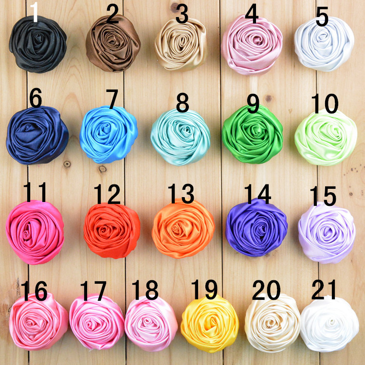 dhl free shipping 500pcslot satin rolled rosette flowers 2 you choose color 2 inch rose - Images Of Flowers To Color 2