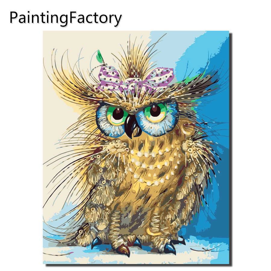 Frameless Vintage Owl DIY Painting By Numbers Acrylic Paint On Canvas Kit Animals Coloring By Numbers For Home Decor Art