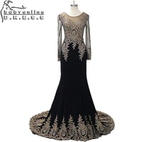 Real Photo Evening Dresses Luxury Heavy Beaded Applique Black Long Sleeve Mermaid Evening Dress 2015 Prom Party Dresses
