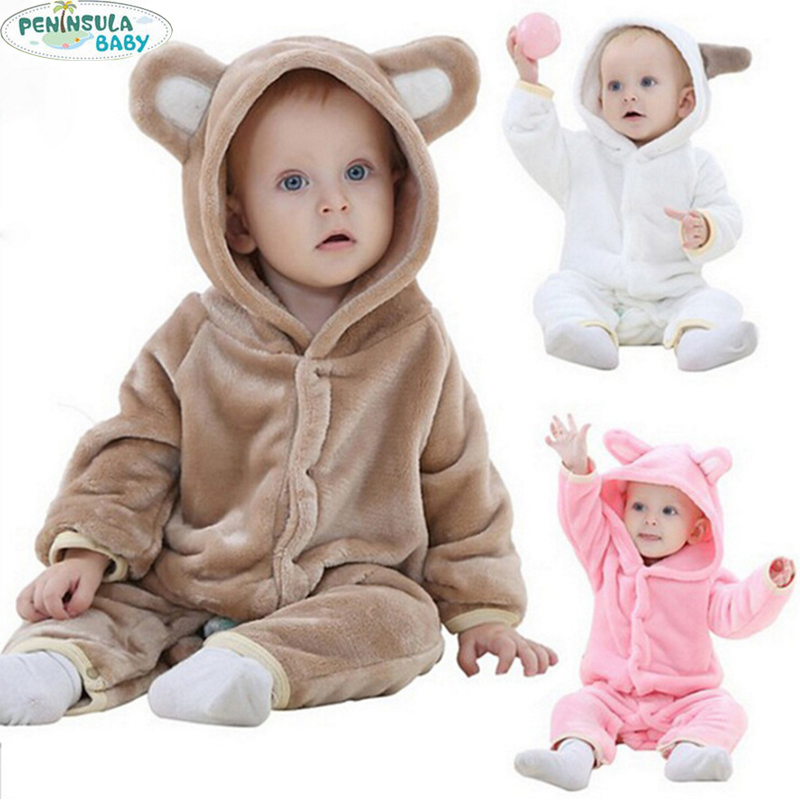 Newborn Baby Girl Clothes Winter 2017 Flannel Cartoon Bear Baby Boy Rompers Long Sleeve Costume Infant Overall Baby Jumpsuits cotton baby rompers set newborn clothes baby clothing boys girls cartoon jumpsuits long sleeve overalls coveralls autumn winter