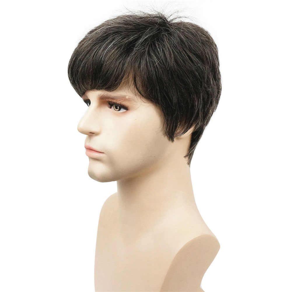 Реалистичный мужской Полный волос натуральный черный многослойный парик для укладки Повседневный искусственный короткий прямой ворсистый парик для косплея