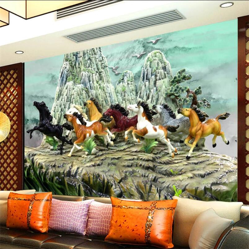 Custom Wallpaper 3d Murals Innovative Chinese Embossed The Best Marble Eight Horse Figure Papier Peint 3d Background Wall Paper
