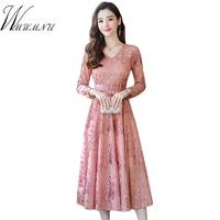 Slim Waist Women Elegant Velvet Dress 2018 Street Wear Women Party Dress Fashion New Long Sleeve High Waist Pleated Dress 3XL
