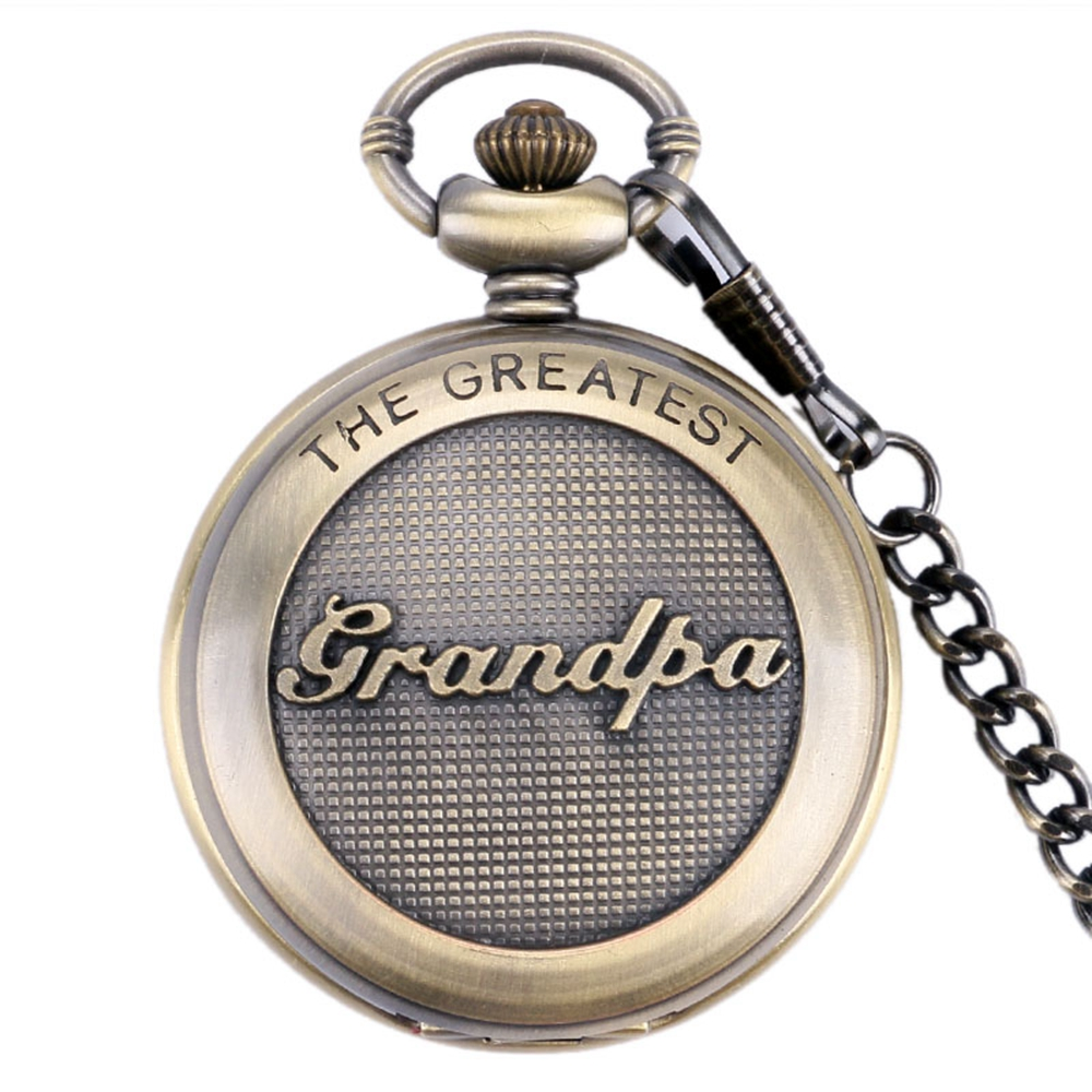 Copper Retro Pocket Watch The Greatest Grandpa Theme Quartz Pocket Clock Men Women Chain Pendant Pocket Watch Reloj De Bolsillo