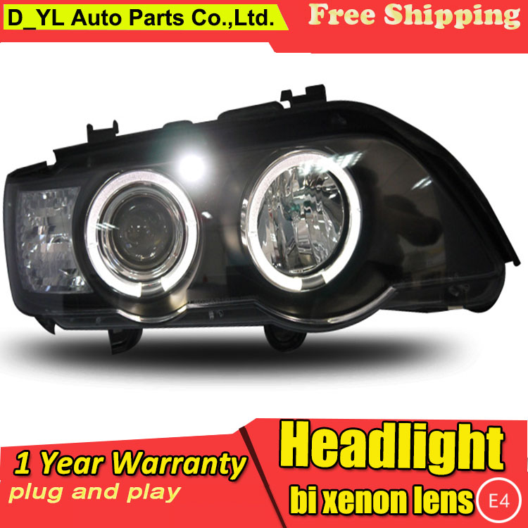 D YL Car Styling for BMW X5 Headlights 1998 2003 X5 LED Headlight DRL Lens Double