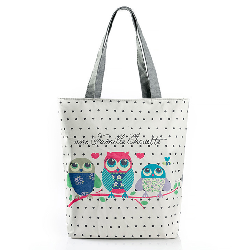 Canvas Bags Woman Summer Fashion Shoulder Bag Female 2017 High Quality Spring Owl Big Casual Beach Bags For Ladies With Zipper