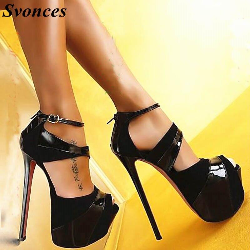 Celebrity Extreme High Heels Black Fashion Womens Shoes Peep-toe Pumps Sexy 16CM Super High Platform Heels Vogue Ankle Straps