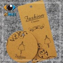Customized 200pcs/lot mini gift tags kraft paper hang tag fo