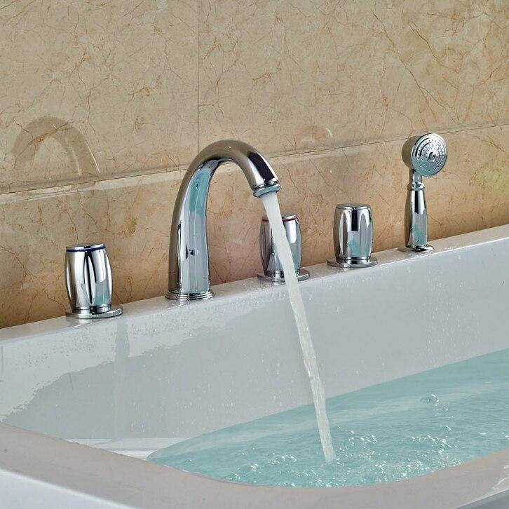 Deck Mounted 5 pcs Tub Faucet Brass Chrome Polish Bathtub Shower Set Swivel Spout Tap