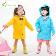Fashion 2019 Impermeable Bow Raincoat for Children Girls Yellow Pink Blue Rain Wear Poncho Waterproof Hooded Raincoat Baby