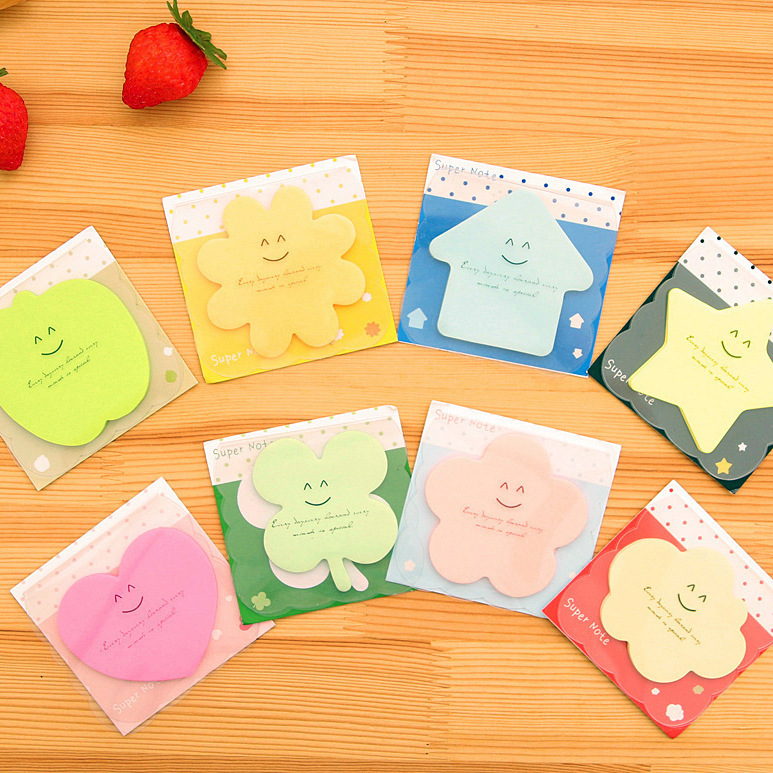 Free shipping DIY Cute Kawaii Smiley Sticky Colored Paper Memo pad Lovely Korean Stationery Post it Note Gift for Children