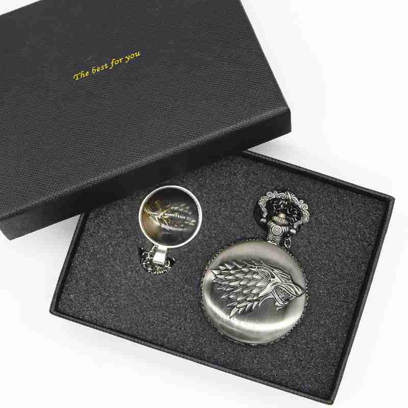 Retro Antique Pocket Watch Game of Thrones House Strak Men Women Fob Watch Necklace Pendant Gift with set box TPB034  Retro Antique Pocket Watch Game of Thrones House Strak Men Women Fob Watch Necklace Pendant Gift with set box TPB034